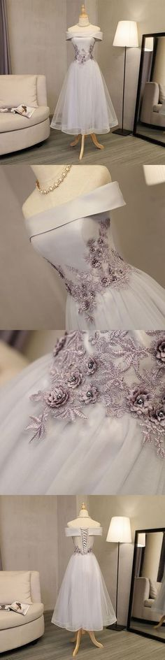 Gray A line off shoulder short prom dress,Sexy Homecoming Dress,Short Homecoming Dress