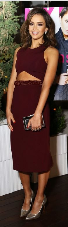 Jessica Alba:  Dress – Cushnie et ochs  Shoes -Casadei  Earrings  - Melissa Kaye  Rings – W. Britt and Dana Rebecca Designs
