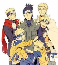 "All Naruto Forms and Iruka Sensei - his ""father"" ♥♥♥ #Love #Cute"