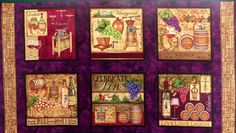 Through The Grapevine Cotton Quilt Fabric Panel OOP Wine Bottles Sewing Crafts