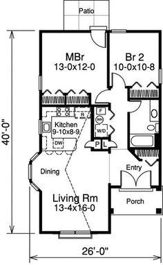 plano de casa tradiciona con 2 dormitorios