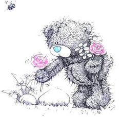 Free Printable Cross Stitch Patterns | Free Shipping* Tatty Teddy Picking Flowers- Cross Stitch Design