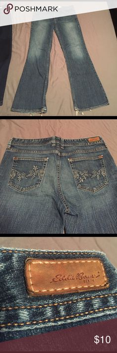 Eddie Bauer Bootcut Jeans Pre-loved jeans. Worn at bottom of the legs. Size 12R. Cute embroidery on the back pockets. I'll accept any reasonable offer! Eddie Bauer Jeans Boot Cut