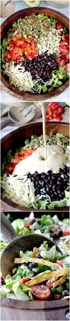 Southwest Salad with Creamy Avocado Salsa Dressing | Foodiboum
