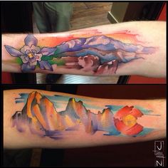 Watercolor tattoo by Justin Nordine