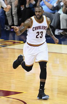 LeBron James Photos - LeBron James #23 of the Cleveland Cavaliers reacts during the second half against the Golden State Warriors in Game 3 of the 2016 NBA Finals at Quicken Loans Arena on June 8, 2016 in Cleveland, Ohio. NOTE TO USER: User expressly acknowledges and agrees that, by downloading and or using this photograph, User is consenting to the terms and conditions of the Getty Images License Agreement. - 2016 NBA Finals - Game Three