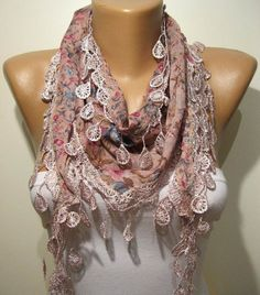 Pink Elegance Shawl / Scarf with Lace Edge by SwedishShop on Etsy, $15.90