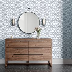 Transform your space without committing for life. Quickly change the look and feel of a wall, headboard or room with the Hello Sunshine removable wallpaper from Tempaper. Sunshine Wallpaper, Laundry Room Wallpaper, Honeycomb Tile, Modern Farmhouse Bathroom, Bathroom Kids, Kid Bathrooms, Workspace Design, Son Luna, Hello Sunshine