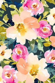 Portadown Watercolor Floral by angiemakes. Hand Painted Flowers Design. Lovely Watercolor Flower Blooms on Dark Background. Available on fabric, wallpaper, and gift wrap.