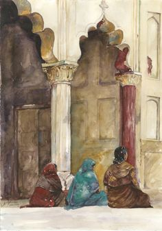 """Indian Women in New Delhi watercolor painting print // """"A Moment's Peace"""" by N D Keaton // Art about women // Travel Art // by WorldinWatercolors on Etsy"""