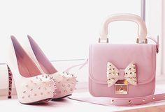 Pink Handbag and Shoes | Bag: shoes, purse, studs, pastel, cute, shoes bag, heels, spike ...