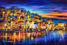 Blaue Wand Kunst Landschaft Gemälde auf Leinwand von Leonid