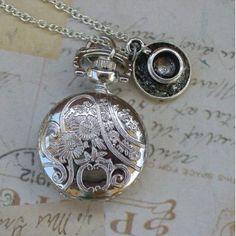 Alice in Wonderland Tea Party Steampunk Pocket Watch Necklace - CovalentNews.com