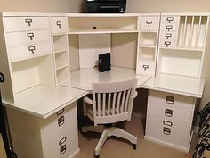 Pottery Barn Bedford Corner Desk, Hutch, Chair and Acrylic Desktop Protector