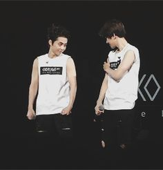 xiumin and baekhyun comparing muscles - Google Search