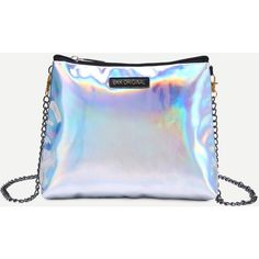 Silver Faux Leather Zip Closure Shoulder Bag With Chain Strap ($11) ❤ liked on Polyvore featuring bags, handbags, shoulder bags, bolsos, accessories, silver, chain handle handbags, faux leather purses, silver purse and faux leather handbags