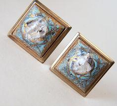 Vintage Men's Square Crackle Art Glass Tile by GretelsTreasures