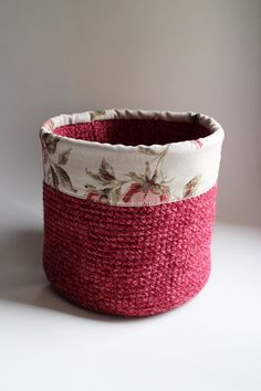 Items similar to Big burgundy crochet basket Toy Storage, Storage Baskets, Old Sweater, Burgundy Color, Red Flowers, Recycling, Shapes, Toys, Fabric
