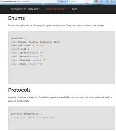 Swift Cheat Sheet - Enums and Protocols; more at http://codeinswift.com/swift-cheat-sheet/