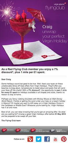 """Virgin Holidays recently promoted a """"Show off Sale"""" to members of its frequent flyer club by personalizing this offer with each subscriber's name."""