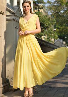 Yellow V Neck Sleeveless Slim Pleated Chiffon Dress - Fashion Clothing, Latest Street Fashion At Abaday.com