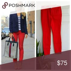 """Trina Turk bright red skinny pants Bright red flawless pants! Never worn, and so many way to style these! 4 pockets. I have the exact pair and same size in Olive green color. Check it out!  Inseam- 29.5"""" Waist- 15 1/4"""" Trina Turk Jeans Skinny"""