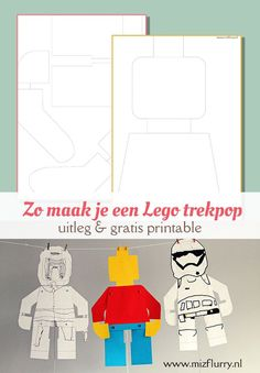 Gratis te downloaden sjabloon voor een Lego minifiguur trekpop. Leuk knutselwerkje voor kinderen. | Lego paper craft for kids. Free printable.