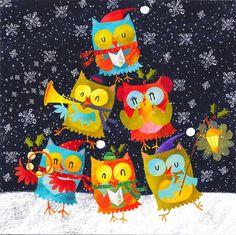 Musical owls at Christmas Cartoon Owls, Happy Owl, Owl Fabric, Paper Owls, Christmas Owls, Fabric Markers, Owl Art, Winter Theme, Fabric Patterns
