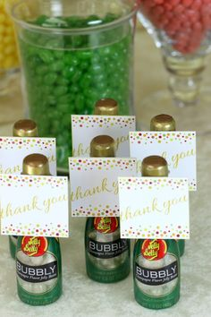 Jelly Belly Champagne Bottles are the ideal non-alcoholic party favors for your next birthday bash. Download free printables from our friends at Catch My Party!