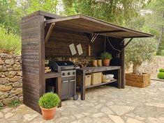 Rustic Outdoor Kitchens, Outdoor Kitchen Patio, Outdoor Kitchen Design, Rustic Outdoor Decor, Outdoor Living, Rustic Backyard, Outdoor Rooms, Outdoor Furniture, Parrilla Exterior