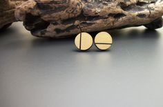 Painted circle wood stud earrings gold and black hand by JewelRiot, $14.00