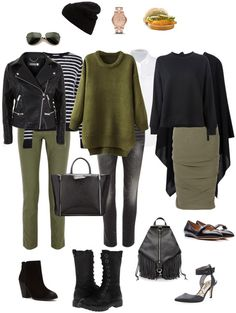 Ensemble: Olive and Black - YLF Three ways to combine olive with black in casual and smart casual outfits. Fashion 2020, Look Fashion, Fashion Outfits, Womens Fashion, Fashion Pants, Capsule Outfits, Fashion Capsule, Fall Capsule Wardrobe, Smart Casual Outfit