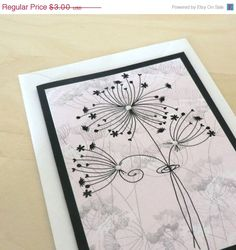 25 OFF SALE Pink Card Dandelion Blank by lillysnightgarden on Etsy, $2.25