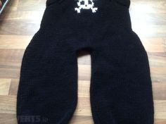 New Hand Knit Black Dungarees Skull Cross Bones Bone Buttons Goth Punk Halloween For Sale in Portarlington, Laois from melissabell Black Dungarees, Baby All In One, Hand Knitting, New Baby Products, My Design, Goth, Skull, Punk, Projects