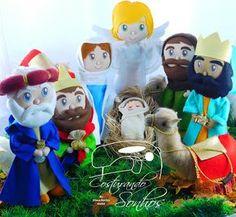 Presépio - Moldes Christmas Crafts, Christmas Ornaments, Felt Crafts, Santa, Holiday Decor, Diy, Biscuit, Ideas, Felt Christmas Ornaments