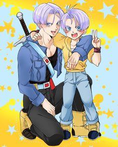 Future Trunks and Kid Trunks sooo cute! Dragon Ball Z, Goten Y Trunks, Vegeta And Bulma, My Character, Anime Characters, Chibi, Animation, Manga, Fan Art