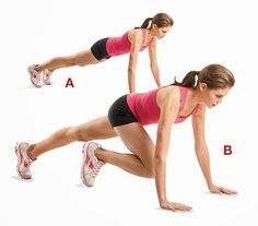 6. Mountain Climbers: How to do: Start in a push up position and make sure your abs are tight and contracted. Start running
