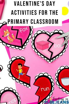 Engage your kindergarten, 1st & 2nd grade students this February with fun Valentine's Day activities. This article is filled with engaging learning ideas that are perfect for the elementary classroom. Activities for reading, writing, word work and more. Fill your centers, morning work tubs and lesson plans with engaging Valentine's Day activities. Editable Teacher Valentine that you can send to your students too. #kindergarten #firstgrade #February #ValentinesDay Primary Classroom, Kindergarten Classroom, Classroom Activities, Writing Goals, Picture Writing Prompts, Hidden Picture Puzzles, Word Work Centers, Expository Writing, Reading Comprehension Skills