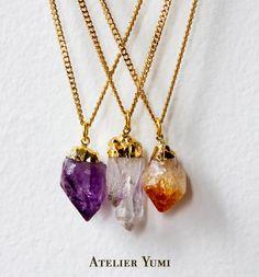 Raw Crystal Necklace Amethyst Quartz Citrine
