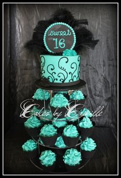 Chic Sweet 16 Cupcake tower - Black and turquoise theme with chic black feathers for that diva touch! Black cupcake wrappers and scroll patterns also add to the elegant look of this mod cupcake tower Sweet 16 Cupcakes, Black Cupcakes, Sweet 16 Birthday Cake, 16th Birthday, Birthday Parties, 16 Birthday Ideas, Sweet Sixteen Cakes, Sweet Sixteen Parties, 16 Cake