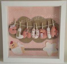 Cuadrito de fieltro bebé - Claudia Baby Crafts, Felt Crafts, Diy And Crafts, Box Frame Art, Box Frames, Cuadros Diy, Sewing Projects, Projects To Try, Diy Y Manualidades