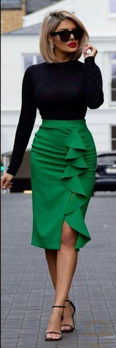 fashion trends / black high neck top + green pencil skirt + heels