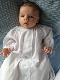 My sweet Grandson Wilson love his daygown style that I originally design. Baby Boy Baptism Outfit, Christening Gowns, Baby Boy Newborn, Baby Boy Outfits, Handmade Baby Clothes, Vintage Baby Clothes, Nike Shorts, Angel Gowns, Baby Couture