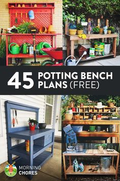 Ideas That Will Make Planting Easier 45 Free DIY Potting Bench Plans that will inspire you to work on that quot;green thumb Free DIY Potting Bench Plans that will inspire you to work on that quot; Garden Shed Diy, Diy Shed, Garden Table, Garden Benches, Easy Garden, Potting Bench Plans, Potting Tables, Potting Sheds, Potting Station