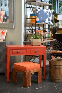 Red #console and #stool at #Houston #Mecox #interiordesign #MecoxGardens #furniture #shopping #home #decor #design #room #designidea #vintage #antiques #garden