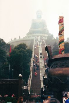 Lantau Island, Hong Kong. I went here last year! and climbed those very steps to see the BIIIIG BUDDAH! amazing!