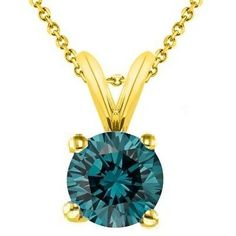 IGI Certified PARIKHS Round Cut Blue Diamond Solitaire Pendant AAA Quality in Yellow Gold 085 ctw ** Click image to review more details. Note: It's an affiliate link to Amazon