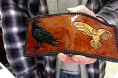 Wallet / Men / Nordic / Viking / Leather / Custom / Owl / Crow / Bi Fold / Hand Carved and Tooled / Hand Crafted / Tribal / Man / Norse