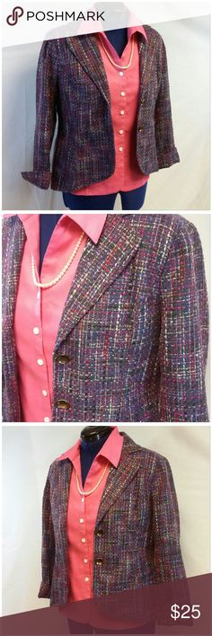 "COLDWATER CREEK Tweed Fancy Boyfriend Blazer 12 COLDWATER CREEK, Tweed, Fancy, Boyfriend Blazer, size 12 See Measurements, grape purple base with lots of pinks reds see picture #2 closeup, 2 1/2"" slit at sleeve hem for flared rolled up cuff, 2 concave bronzed-tone front center 7/8"" buttons, fully lined, rounded front center hem, vertical fitted front and back darts, 52% acrylic, 48% polyester, lining 100% polyester, approx measurement: 25"" length shoulder to hem, 21"" bust laying flat,  24""…"
