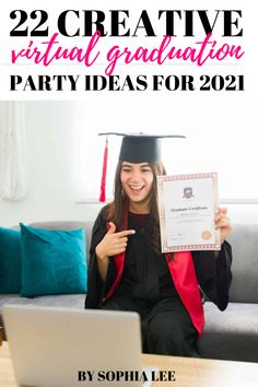 best virtual graduation ideas 2021 Outdoor Graduation Parties, High School Graduation Gifts, Graduation Party Decor, High School Girls, School Boy, Graduation Cap Designs, School Signs, Outdoor School, Graduation Pictures